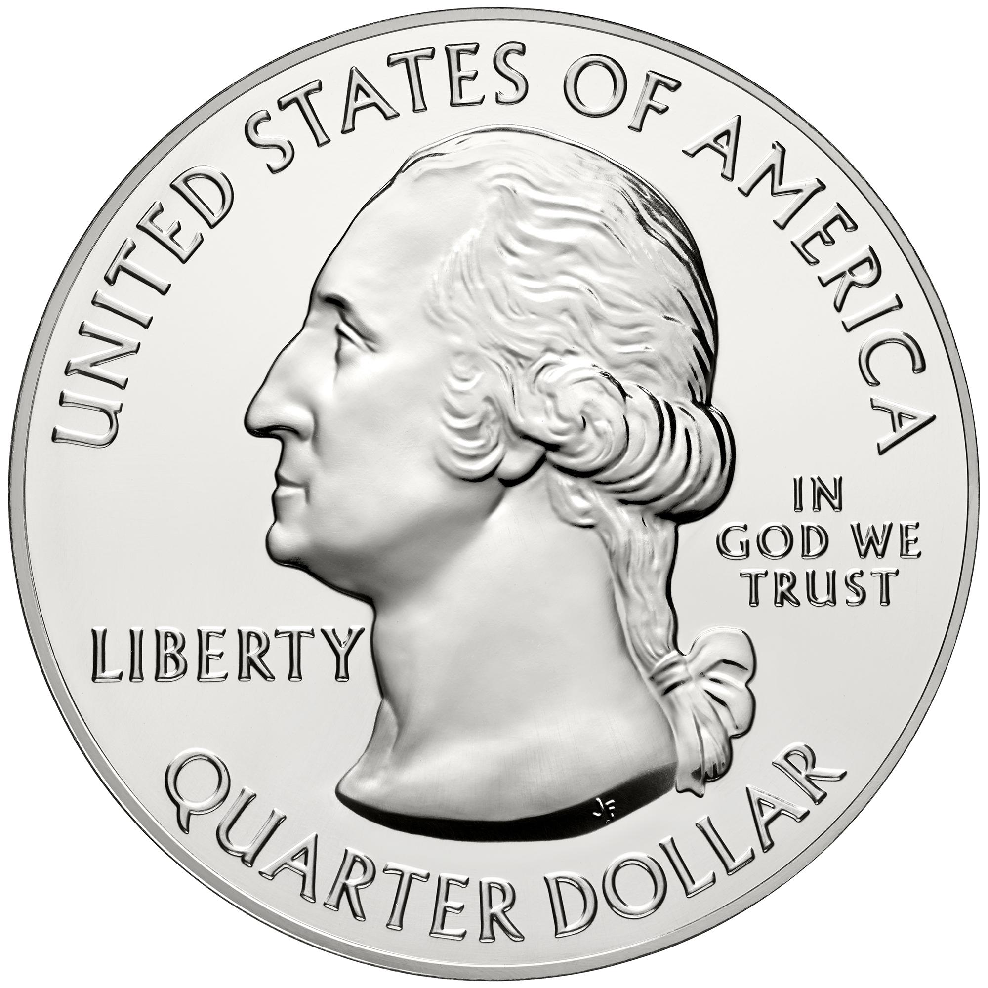 Gemeinsame Rückseite aller 5oz America The Beautiful Quarters mit George Washington auf der Silbermünze